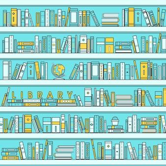 Illustration de la scène de la bibliothèque dans un style de ligne plate