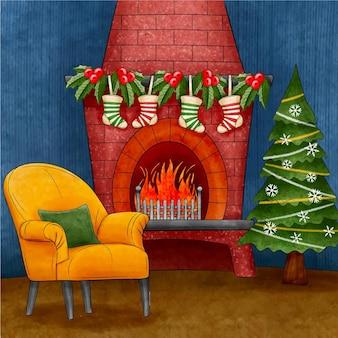 Illustration de scène de cheminée de noël aquarelle