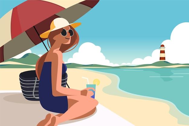 Illustration de scène d'été plat organique