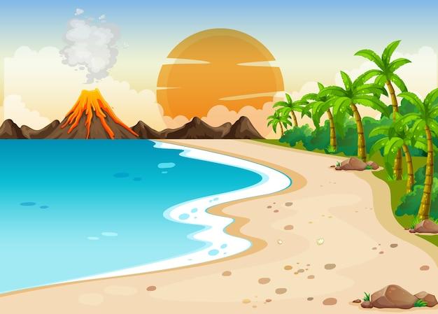 Illustration de la scène extérieure de l'éruption volcanique