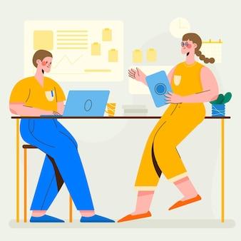 Illustration de scène de jour de travail plat organique