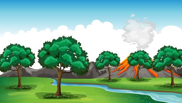 Illustration de la scène de la nature en plein air
