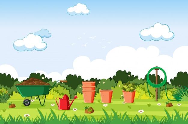 Illustration d'une scène avec des outils de jardinage sur la pelouse