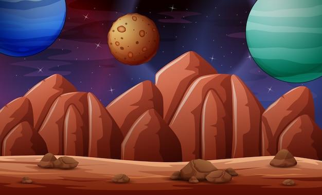 Illustration de la scène de la planète déserte
