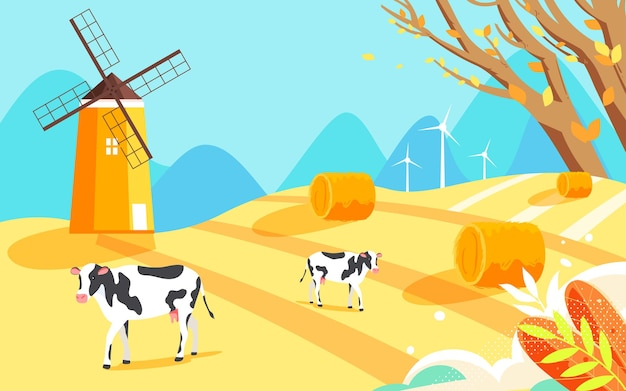 Illustration de scène de récolte de ferme d'automne affiche d'agriculture de paysage rural d'automne