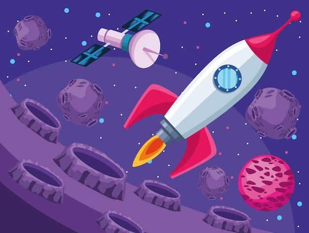 Illustration de la scène de l'univers spatial fusée et satellite