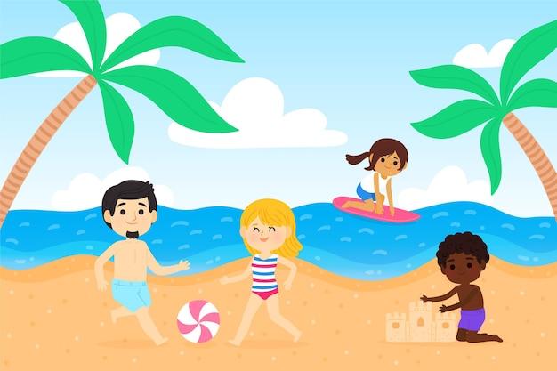 Illustration de scènes d'été de dessin animé