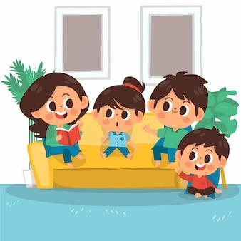 Illustration de scènes familiales dessinées à la main