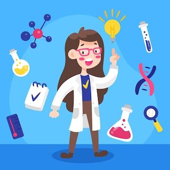 Illustration de scientifique féminin coloré
