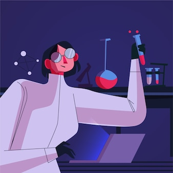 Illustration de scientifique féminin de laboratoire