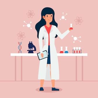 Illustration de scientifique féminin