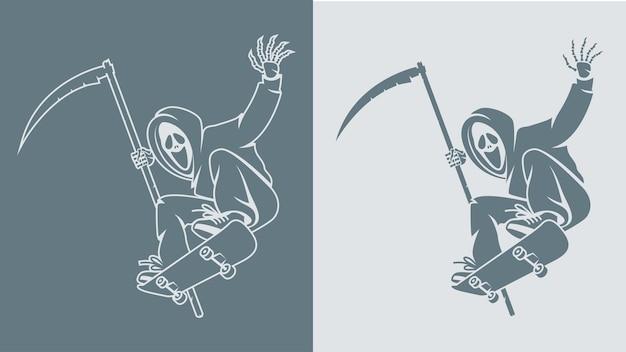 Illustration, scytheman fait sauter sur une planche à roulettes, format eps 10