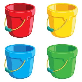 Illustration de seaux de dessin animé mignon seaux en quatre couleurs