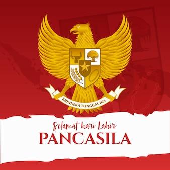 Illustration. Selamat Hari Lahir Pancasila. Traduction: Bonne Journée Pancasila. . Vecteur Premium