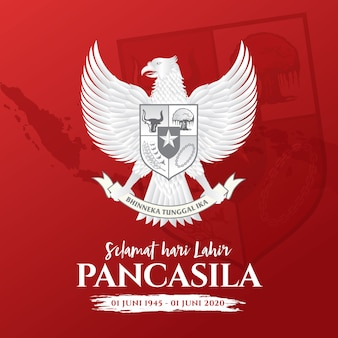 Illustration. Selamat Hari Lahir Pancasila. Traduction: Bonne Journée Pancasila. . Vecteur Premium