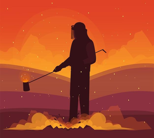 Illustration semi de travailleur d'usine métallurgie. travail des métaux et extraction des métaux. métallurgiste en tenue de protection personnage de dessin animé de fonte de fer à usage commercial