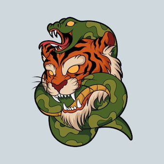 Illustration de serpent tigre