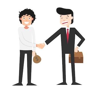 Illustration de serrer la main avec l'homme d'affaires