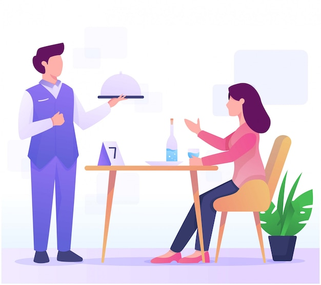 Illustration de serveur et consommé au restaurant