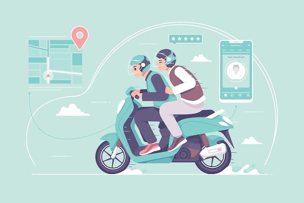 Illustration de service de chauffeurs de taxi moto en ligne