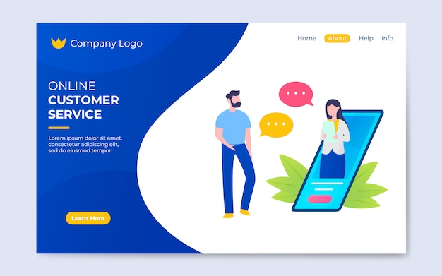 Illustration de service à la clientèle en ligne style plat moderne
