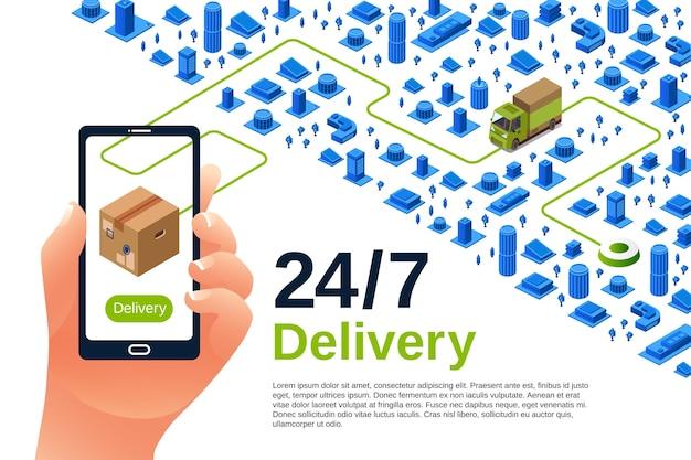 Illustration de service de livraison d'affiche isométrique d'expédition de logistique pour la publicité