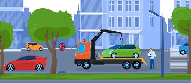 Illustration de service de réparation de camion de remorquage de voiture.