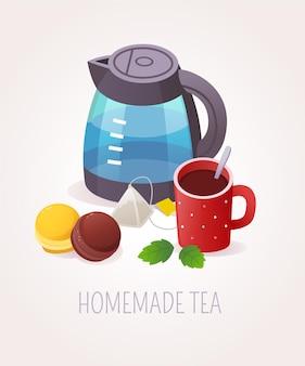Illustration de service de thé fait maison
