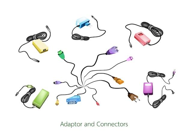 Illustration set d'ordinateur et adaptateur secteur