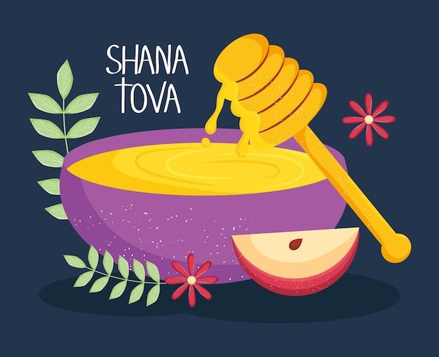 Illustration de shana tova avec des icônes de miel et de pomme
