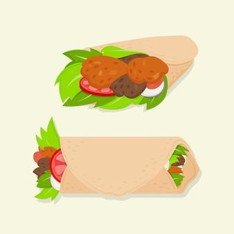 Illustration de shawarma délicieux design plat