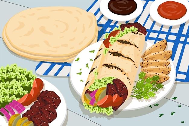 Illustration de shawarma nutritif design plat