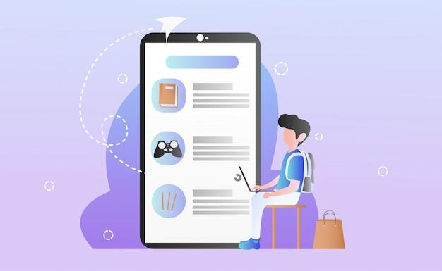 Illustration de shopping en ligne plate