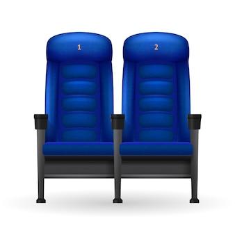 Illustration de sièges de cinéma bleu