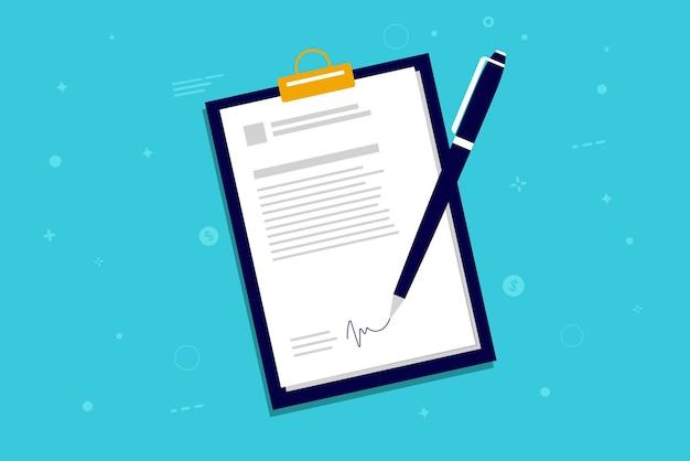 Illustration de signature de document avec stylo et signature