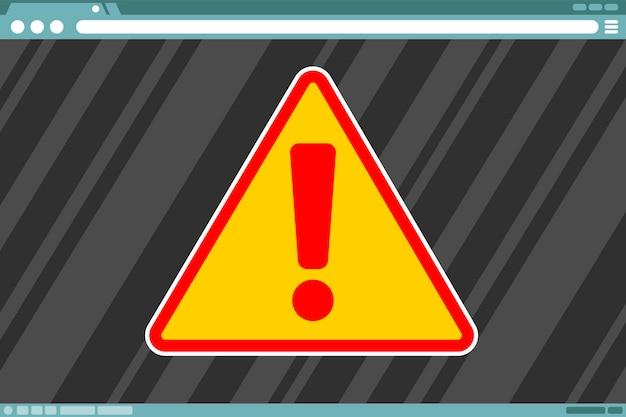Illustration de signe d'attention de vecteur dans le cadre à l'écran