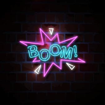 Illustration de signe au néon boom