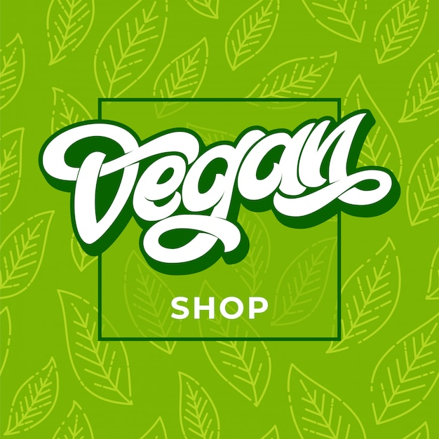 Illustration de signe de lettrage vegan shop. publicité boutique végétalienne. modèle sans couture vert avec feuille. lettrage manuscrit pour restaurant, menu de café. éléments pour étiquettes, logos, badges, autocollants.