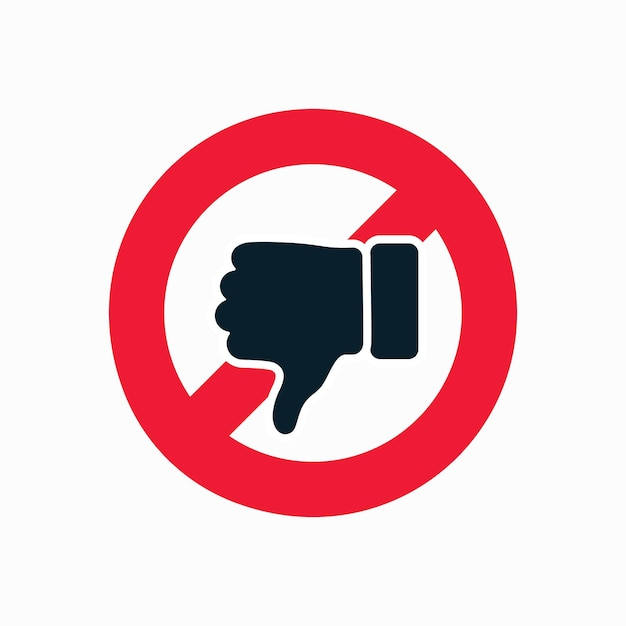 Illustration de signe de pouce et d'interdiction