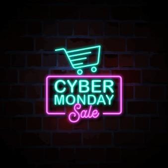 Illustration de signe de style néon cyber vente lundi