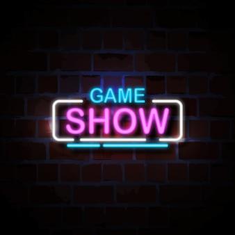 Illustration de signe de style néon de jeu télévisé