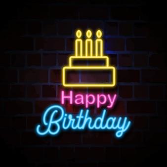 Illustration de signe de style néon joyeux anniversaire