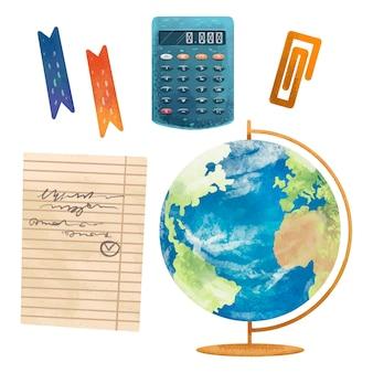 Illustration d'un signet, d'un globe, d'une calculatrice, d'un trombone, d'un morceau de papier avec une tâche, retour à l'école