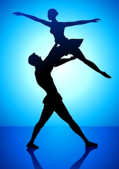 Illustration de la silhouette d'un ballet de danse en couple