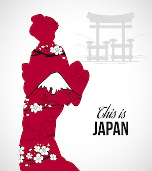 Illustration silhouette geisha