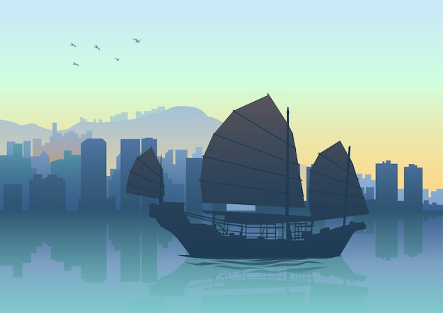 Illustration de la silhouette de la jonque à hong kong