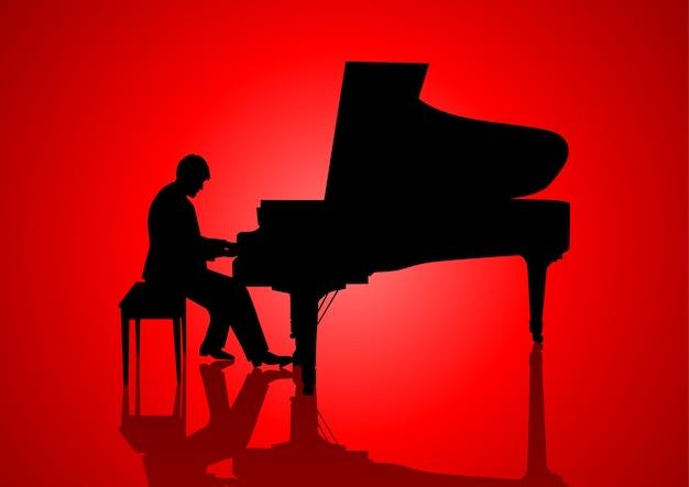 Illustration de la silhouette d'un pianiste
