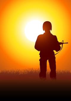 Illustration de la silhouette d'un soldat
