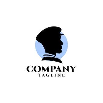 Illustration de la silhouette d'une tête de marins pour un logo lié à l'industrie maritime