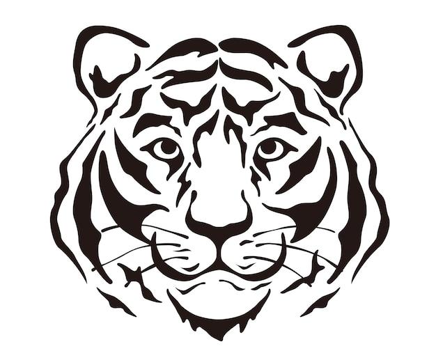 Illustration de silhouette de tête de tigre de vecteur isolé sur fond blanc